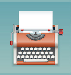 Retro vintage manual typewriter with blank paper vector