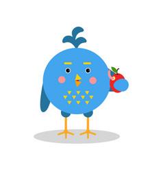 Blue cartoon bird character in geometric shape vector