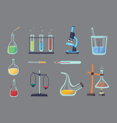 Set - chemical test flat design chemistry vector