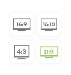 Aspect ratio widescreen and usual monitors vector