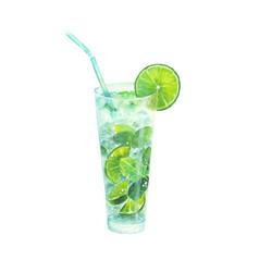 watercolor classical mojito cocktail vector image