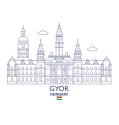 Gyor city skyline vector