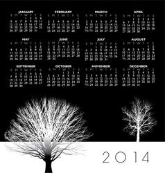 2014 two trees calendar vector