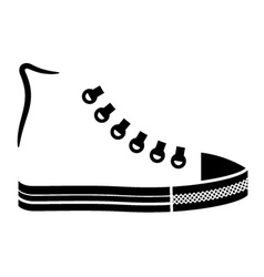 Sneaker canvas shoe black icon vector