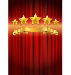 Red curtain gold star vector