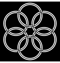 6 double circles interlaced vector