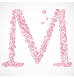 M letter alphabet from pink petals of rose vector