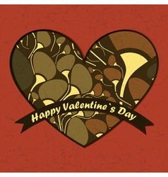 Valentine day card with flowers and heart vector