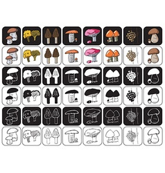 mushrooms icons on black and white vector image