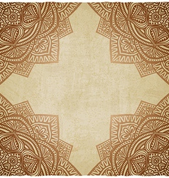 Brown corner pattern grunge paper background vector