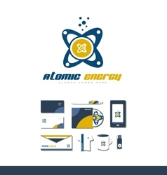 Atom atomic energy logo icon vector