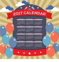 Modern abstract 2017 printable calendar vector