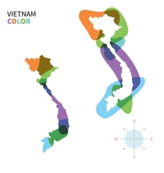 Abstract color map of vietnam vector