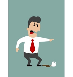 Angry boss or businessman yelling and pointing vector