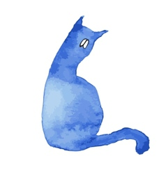 Blue silhouette of a cat with sad eyes vector