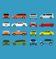 Car type model vehicle objects icons set vector