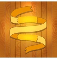 Cartoon ribbon on wood background vector