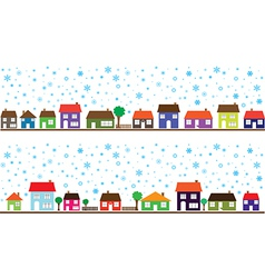 Colored neighborhood with snowflakes vector image vector image