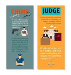 crime and judge vertical flyers vector image vector image