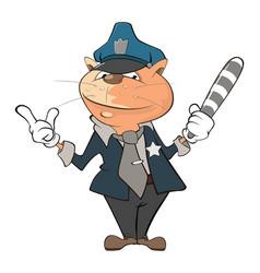 Cute cat police officer cartoon vector
