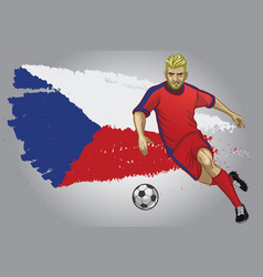 Czech republic soccer player with flag as a vector