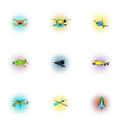 Flying machine icons set pop-art style vector