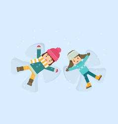 Girl and boy making a snow angel vector