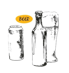 Glass of beer beer bottles and cans vector