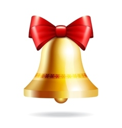 golden bell with a red bow vector image vector image