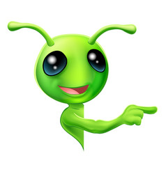 green alien pointing vector image
