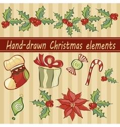 Hand-drawn christmas elements vector