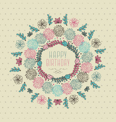 happy birthday floral design vector image vector image