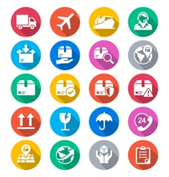 Logistics and shipping flat color icons vector image