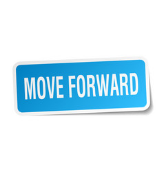Move forward square sticker on white vector