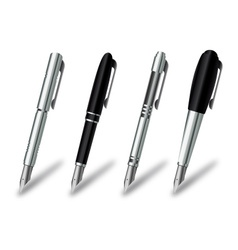 Pen set on a white background vector image vector image