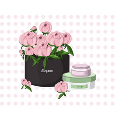 Pink cream cosmetic and floral bouquet gift vector