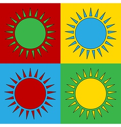 Pop art sun icons vector