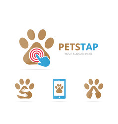 Set of paw logo combination pet and cursor symbol vector