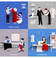 Sewing Flat Set vector image
