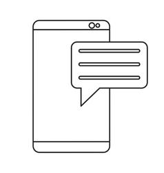 Smartphone with bubble speak media communication vector