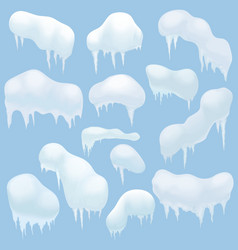 Snow elements snow caps snowballs and snowdrifts vector