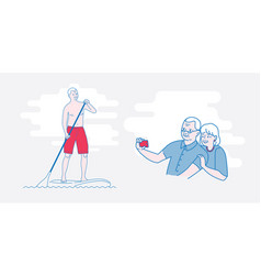 the old man stand up paddling vector image