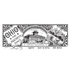 The state banner of ohio the buckeye state vintage vector