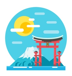 Torii shrine flat design landmark vector image