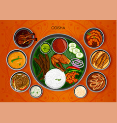 Traditional cuisine and food meal thali of odisha vector