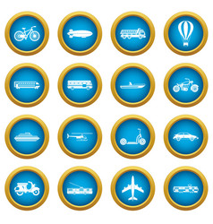 transportation icons blue circle set vector image