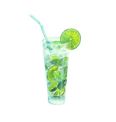 Watercolor classical mojito cocktail vector