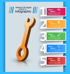 Wrench template bussines infographic vector