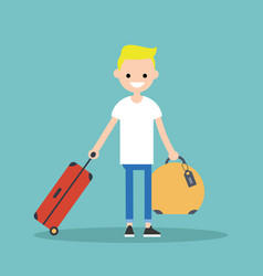Young blond boy travelling with his luggage flat vector