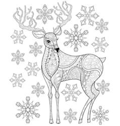 zentangle Christmas Reindeer on snowflakes for vector image